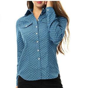 NWT Allegra K Blue Polka Dot Button Down Shirt M
